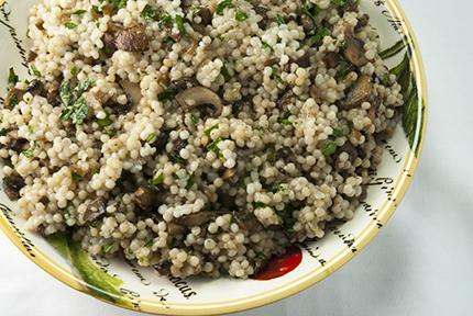 Israeli Couscous with Mixed Mushrooms