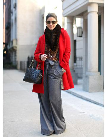Fashion Week Street Style Red Coat
