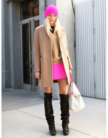 Fashion Week Street Style Neon Pink