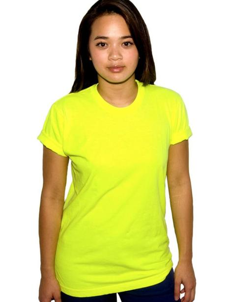 american apparel neon yellow tee