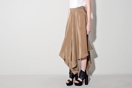 oak taupe silk skirt