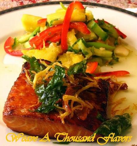 Asian Grilled Salmon with Fried Basil & Ginger Oil