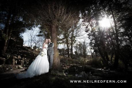 Bride and groom portrait in woodland by Neil Redfern