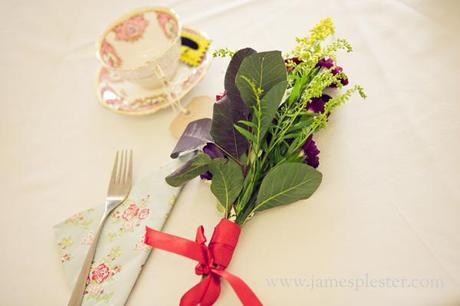 Wildflower sprigs on the wedding tables
