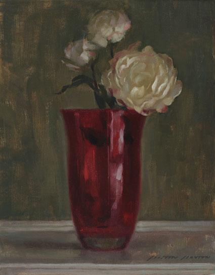 Flowers with Red Vase