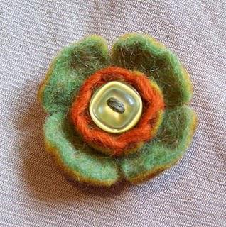 Green Felt Flower Brooch