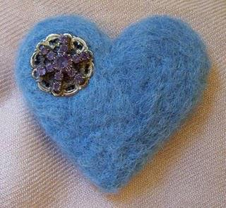 Blue Felt Brooch Embellished with Old Vintage Earring