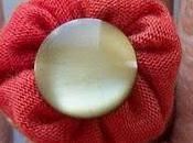 Orange Fabric Ring with Green Button