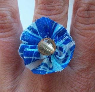 Blue Fabric Ring with Orange Bead