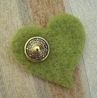 Green Felt Brooch with Old Vintage Button