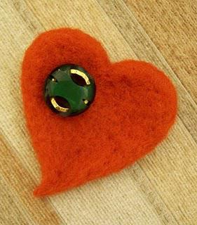 Red Felt Brooch with Old Vintage Button