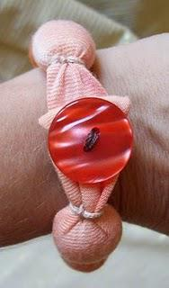 Orange Fabric Bracelet with Button