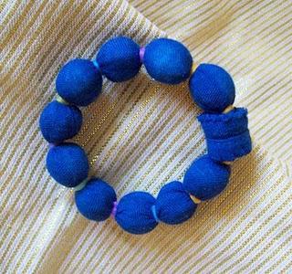 Blue Fabric Bracelet