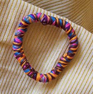 Multicolored Fabric Bracelet with Embroidery Floss