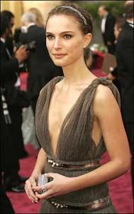 natalite portman wearing a plunging neckline dress