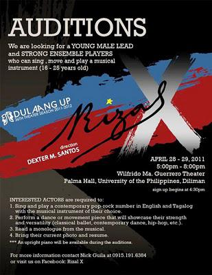 Auditions for Dulaang UP's Rizal X, to be directed by Dexter Santos