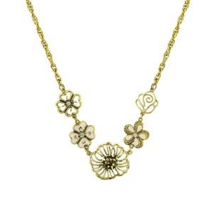 Poppy Flower Medley Gold Charms Necklace