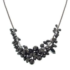 Black Bead Cluster Statement Necklace