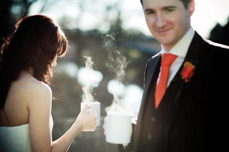 Steaming mugs of tea for the bride and groom