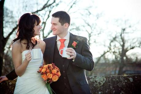 A lovely warm photo on a cold January wedding day