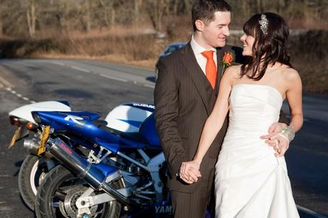 The bride and groom with more motorbikes