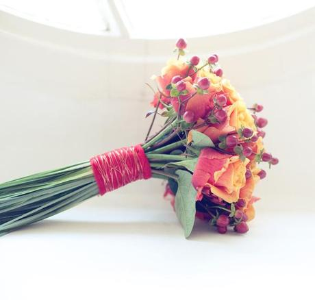 Lovely warm wedding bouquet for a January wedding
