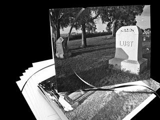 humorous anti Valentine's Day pair of TWO note cards done in gothic black and white of Lust's gravestone