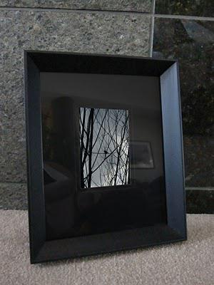 A black matted and framed photo of a small bird silhouette resting on tree branches against a gray storm clouded sky.