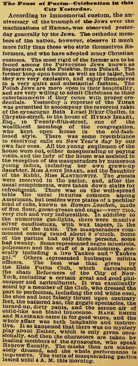 For Purim 2011: A visit to New York City, 1872.