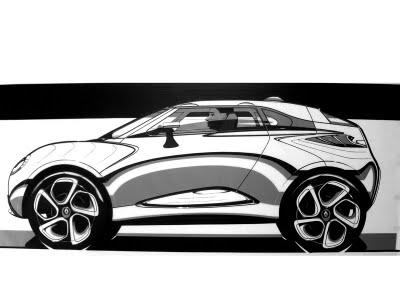 Tape car drawing in side view