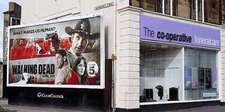 Billboard For 'The Walking Dead' Posted On Side Of A Funeral Parlour