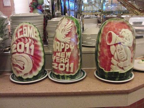 Sneak peek at NYE buffet items.