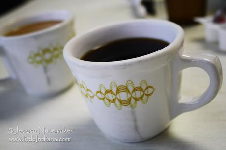 Mugs of Coffee at Wolcott Theater and Cafe in Wolcott, Indiana