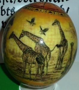 Ostrich Osterei decorated with giraffes