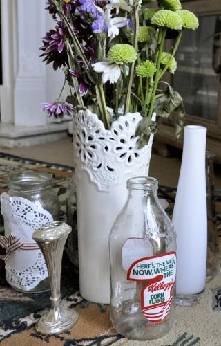 Retro milk bottles, too many vases and creepy clay mementoes