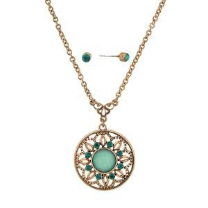 sea green medallion necklace and earring set