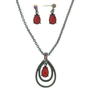 Ruby teardrop necklace and earrings set