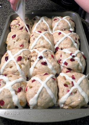 Loaded Hot Cross Buns - Piping the dough balls
