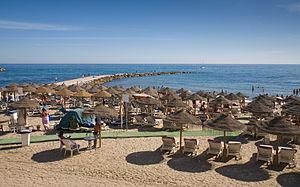 The beach in Marbella in the Costa Del Sol, Spain.