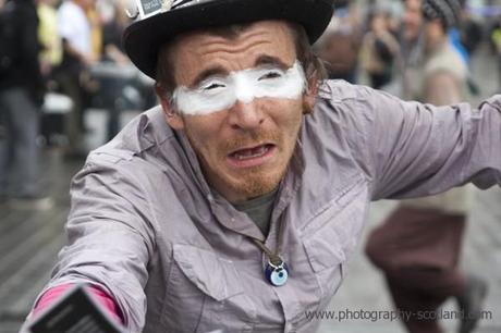 Photo - reveller in the run up to Edinburgh's Beltane Fire Festival