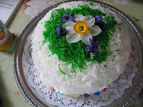lemon orange easter cake with spring flowers