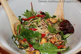 Spicy Chicken Salad with Coriander, Mint and Noodles