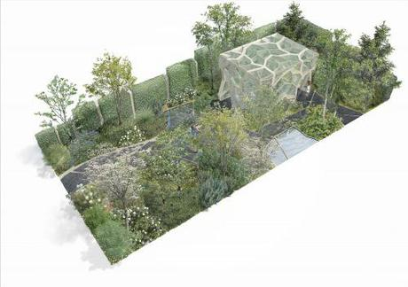 Aerial impression of Times Eureka Garden design in association with Royal Botanic Gardens, Kew  (Credit: Marcus Barnett Design + NEX)