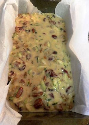 Fruit & Nut Palooza Zucchini Cake - batter in loaf tin