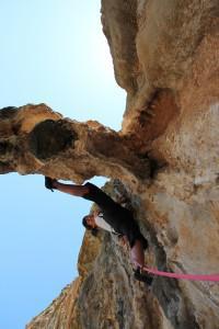 sport climbing on stalactites