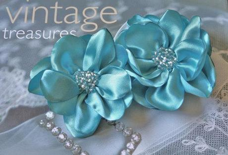 Set of two Bridal Beaded Flower Fascinator Hairpins,Clip or Barrette-Custom Colors