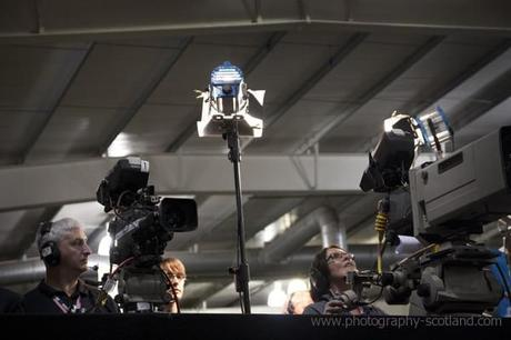 Photo - TV coverage of the Scottish election count