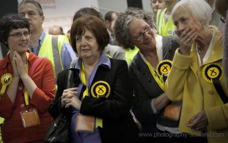 Photo - SNP members anxiously waiting for the first election results to be announced