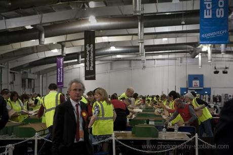 Photo - election votes being counted at Ingliston, Scotland