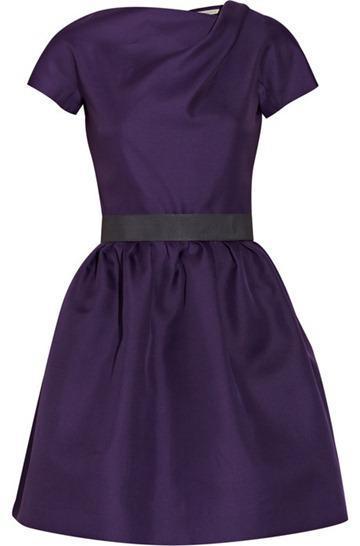 Victoria Beckham Belted Silk-gazaar Dress 1